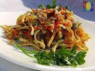 как приготовить салат из крабовых палочек обжаренных